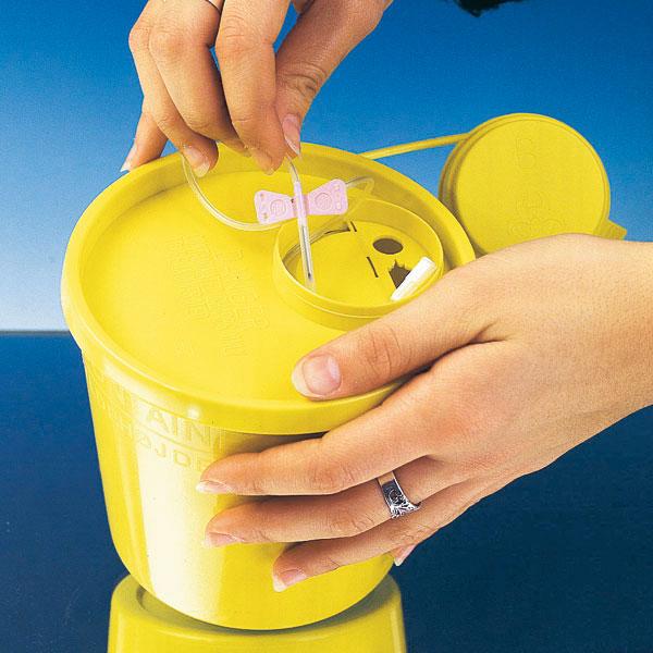 Kanülen und Spritzen Abwurfbehälter 2 Liter Inhalt
