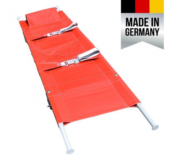 Krankentrage nach DIN 13024-N rot - 1x längs klappbar, mit 4 Gleitfüßen