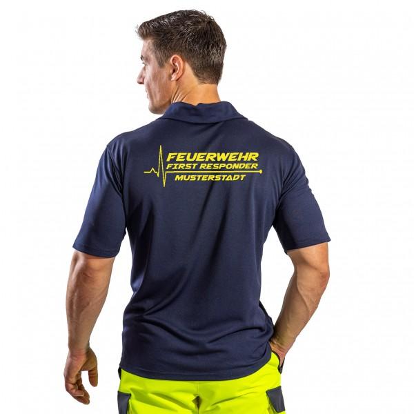 SUTURA Polo-Shirt mit signalgelber Beschriftung FIRST RESPONDER