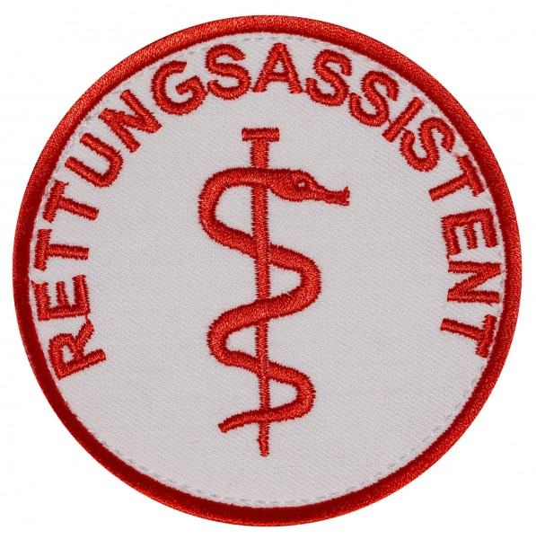 Emblem mit Aeskulap-Stab gestickt mit Klett - verschiedene Beschriftungen erhältlich