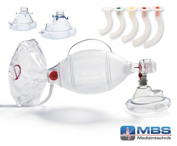 Ambu Spur II Beatmungsbeutel Set mit 3 Masken und 5 Guedeltuben