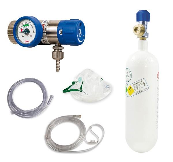 Sauerstoff-Komplett-Set - Druckminderer und Flasche 2 Liter - Stahlflasche