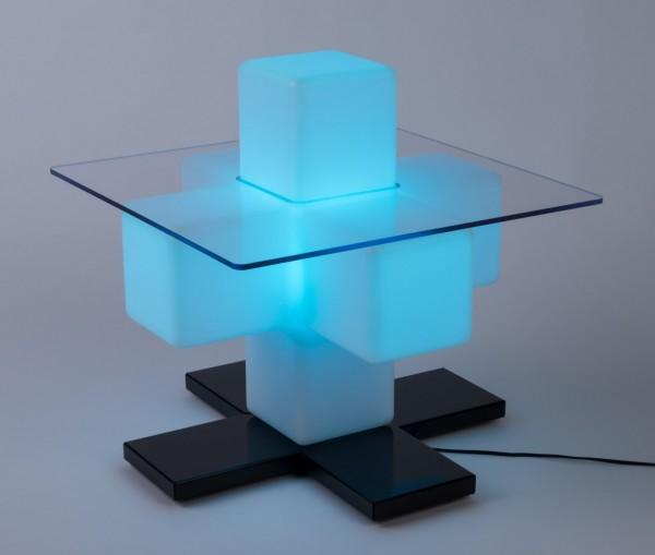 LED Design Kreuz-Tisch für Warteräume und Büros mit RGB Leuchtmittel