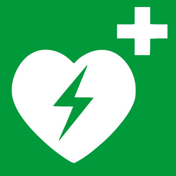 Defibrillator Schild DIN EN ISO 7010 20x 20 cm selbstklebend